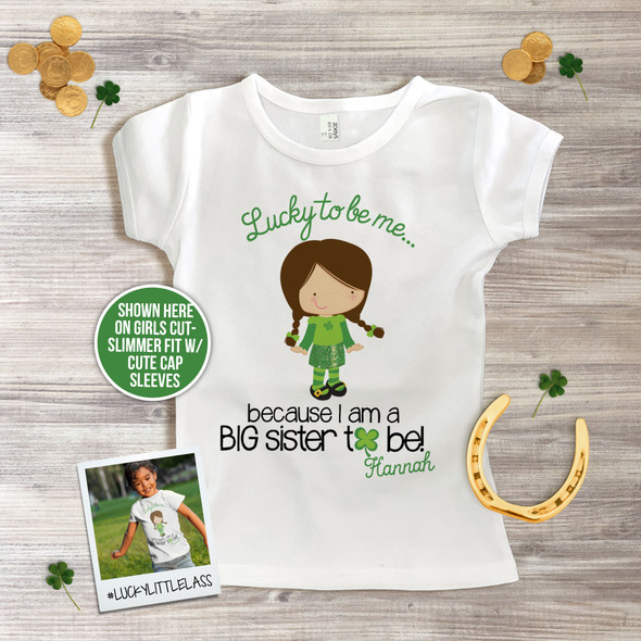 Big sister to be shirt Irish lass lucky to be me pregnancy announcement Tshirt