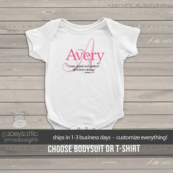 Infant bodysuit girl monogram name with or without quote personalized bodysuit