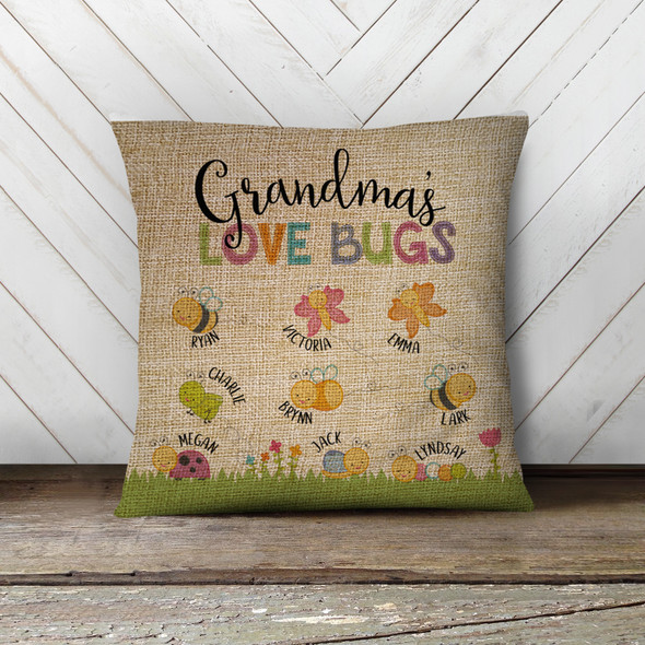 Grandma love bugs throw pillow