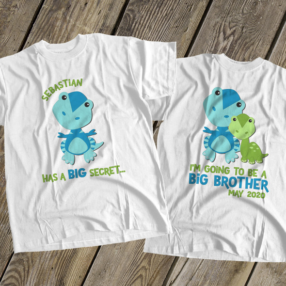 Big brother to be shirt dinosaur secret pregnancy announcement personalized Tshirt