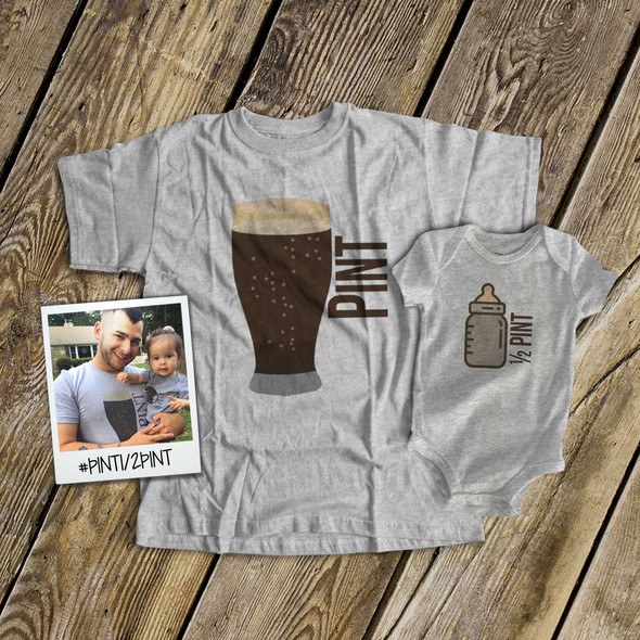 Pint and half pint matching shirt gift set