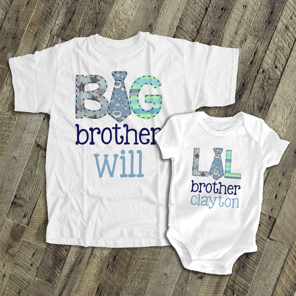 Brother or sister tie sibling Tshirt set
