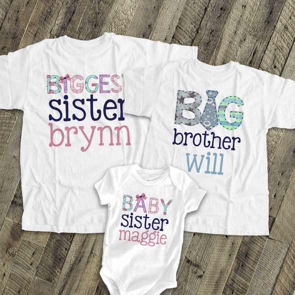 Brother or sister tie three sibling Tshirt set