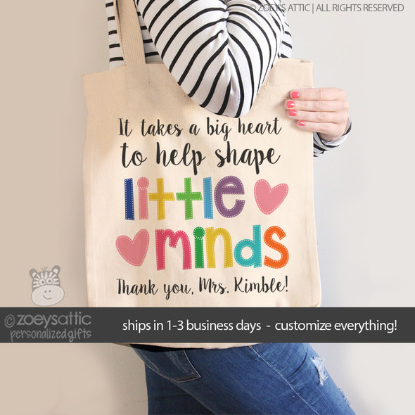 Little minds teacher tote bag