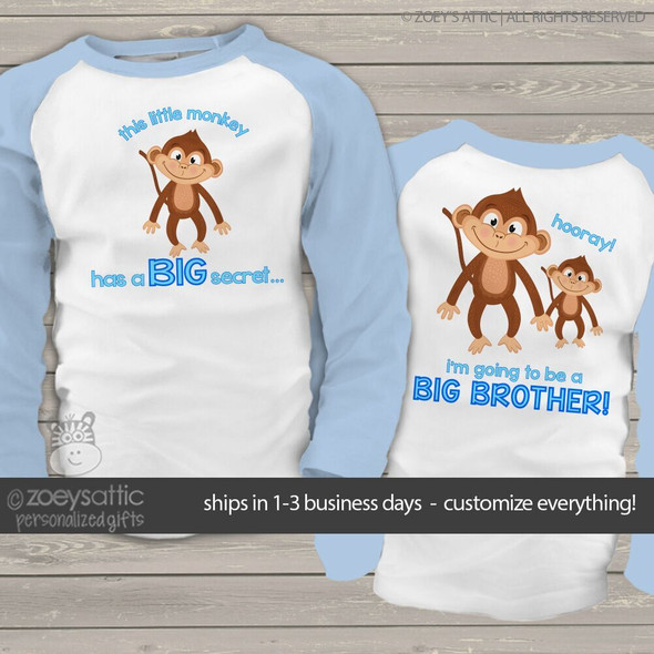 Big brother to be shirt monkey secret pregnancy announcement raglan Tshirt