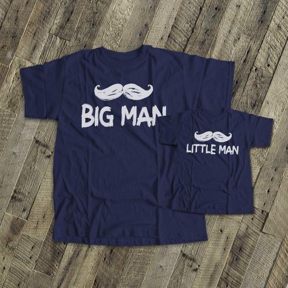 Mustache big man little man DARK shirt gift set