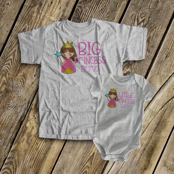 Brother prince or sister princess sibling Tshirt set