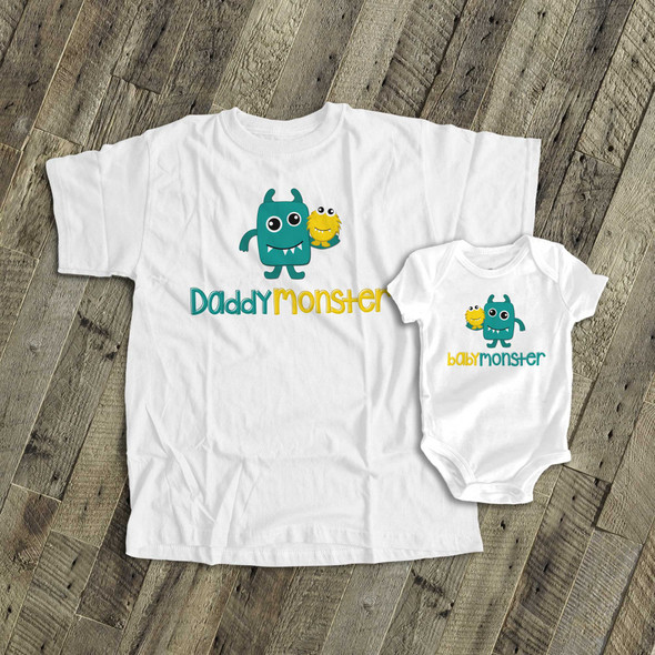 Monster theme daddymonster and babymonster shirt set