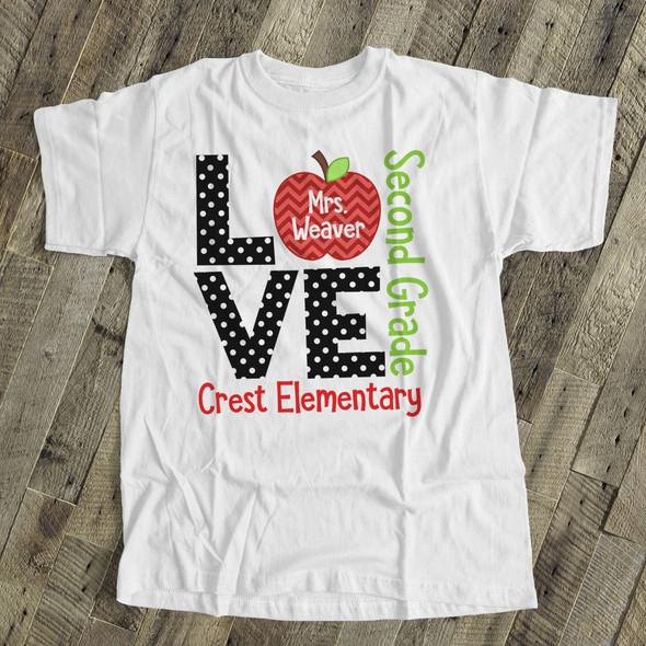 Teacher t-shirt ADULT love grade back to school