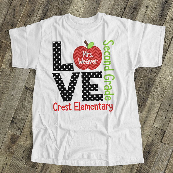 Teacher t-shirt ADULT love grade back to school