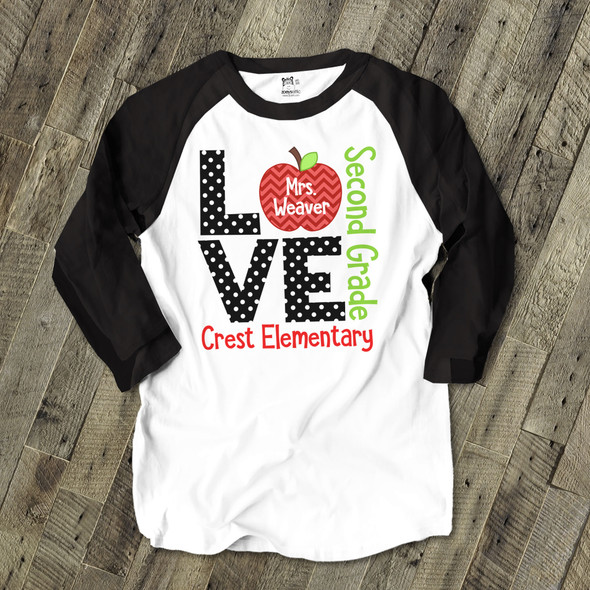 Love school teacher's personalized raglan shirt