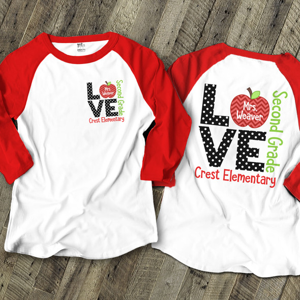 School teacher love raglan shirt