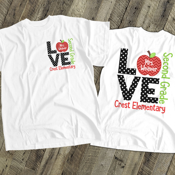 Teacher LOVE grade t-shirt back to school