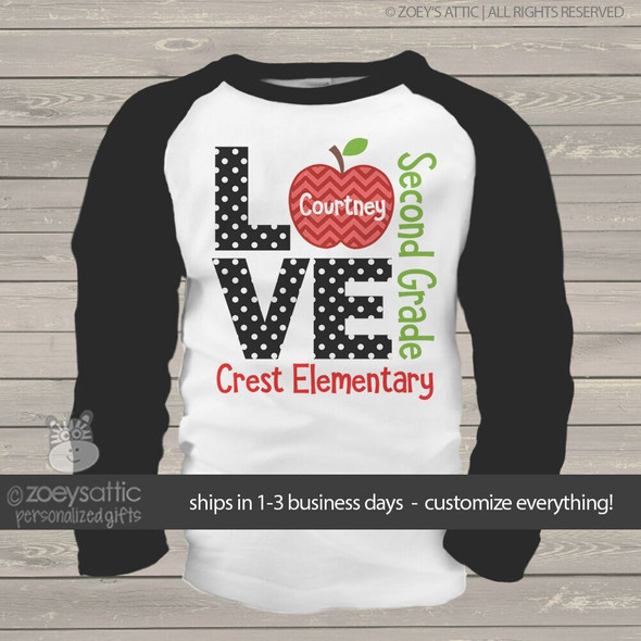 Student love school personalized raglan shirt