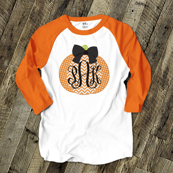 Monogram pumpkin ADULT raglan shirt