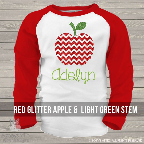 Sparkly glitter apple raglan shirt
