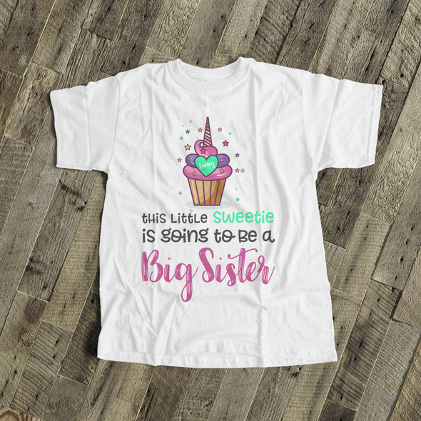 Big sister to be shirt little sweetie cupcake pregnancy announcement Tshirt