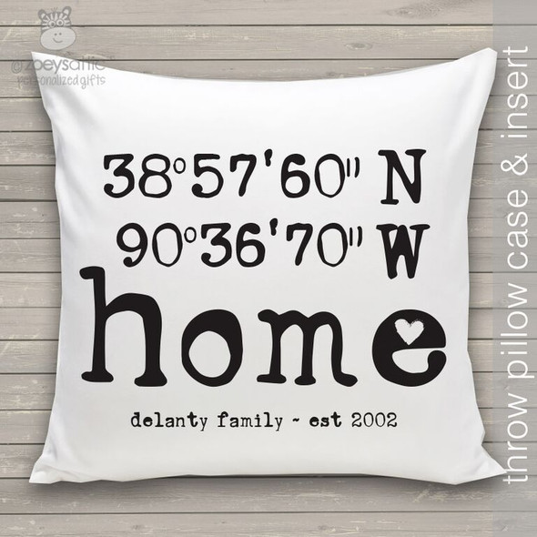 Home latitude longitude throw pillow