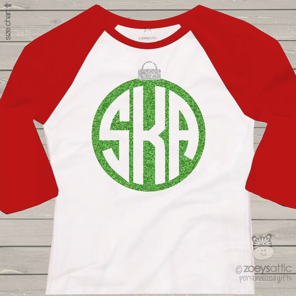 Monogram glitter ornament ADULT raglan shirt