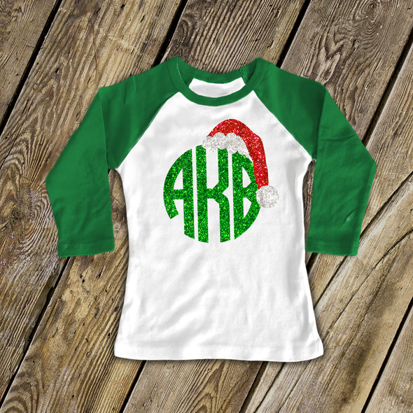 Monogram glitter Santa hat girls raglan shirt