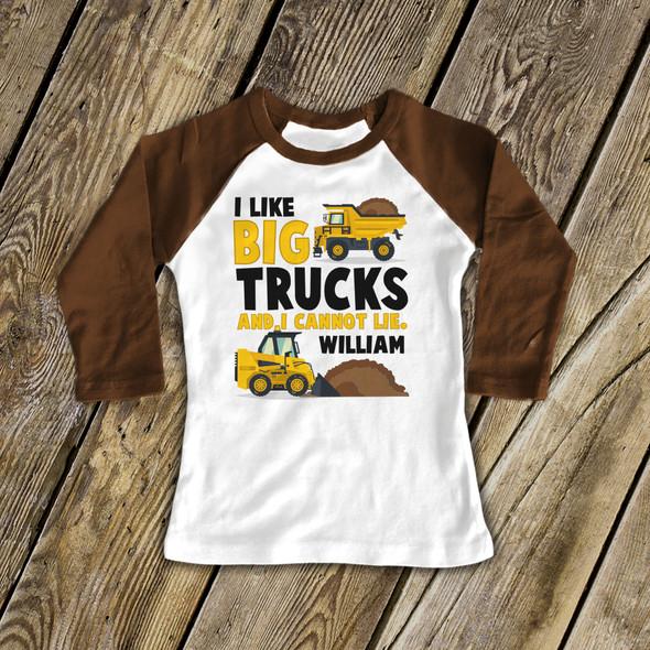 Big trucks funny personalized raglan shirt