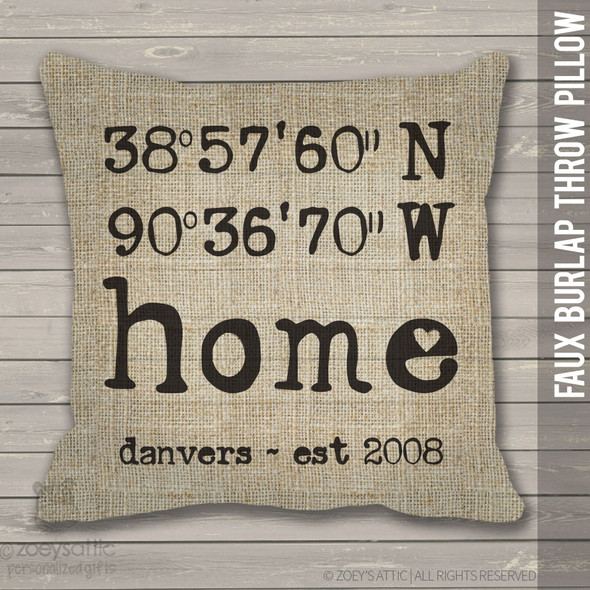 Home latitude longitude faux burlap throw pillow