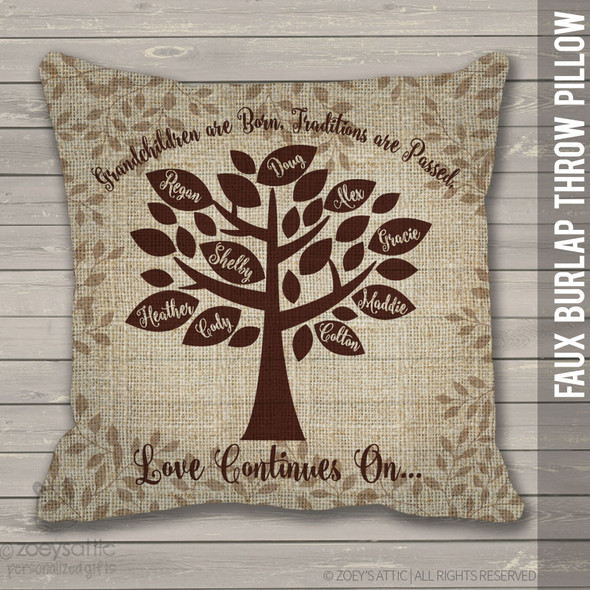 Family tree grandchildren faux burlap throw pillow
