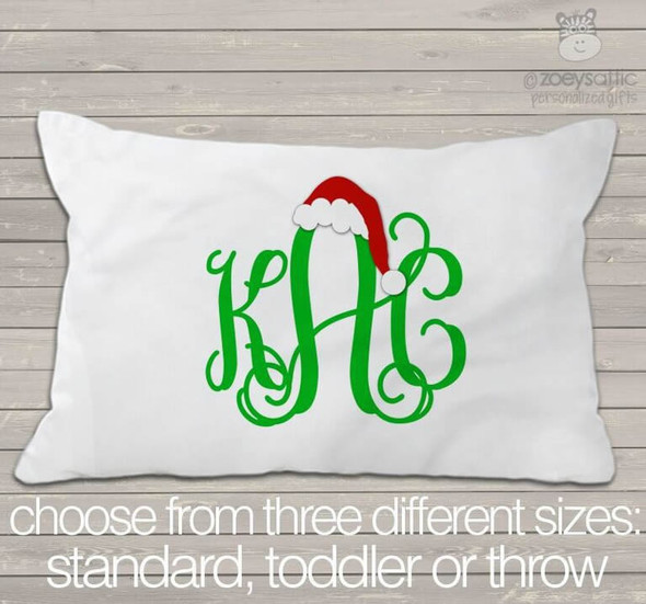 Monogram Santa hat pillowcase / pillow