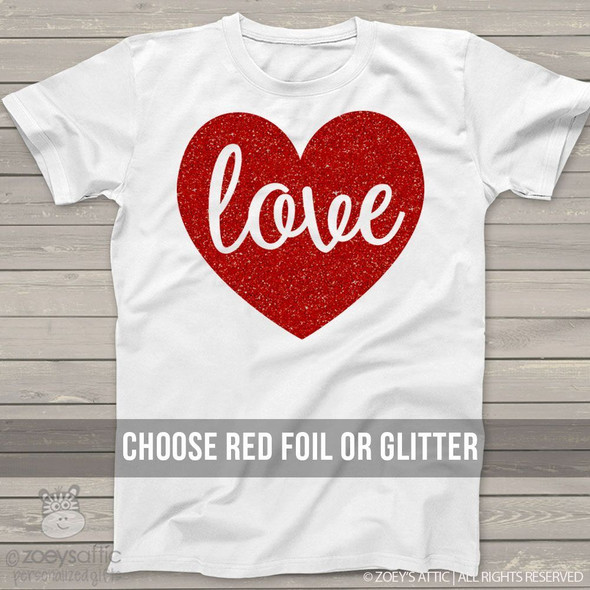 Valentine love sparkly heart shirt