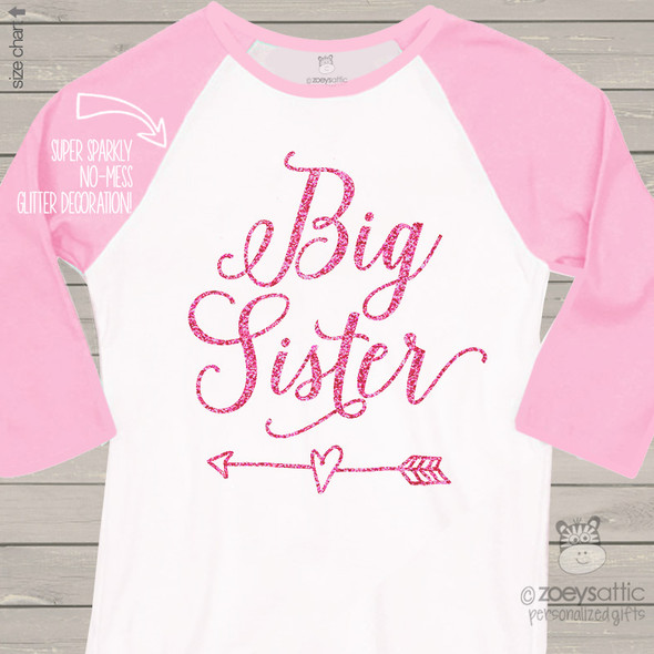 Big sister glitter heart with arrow raglan shirt