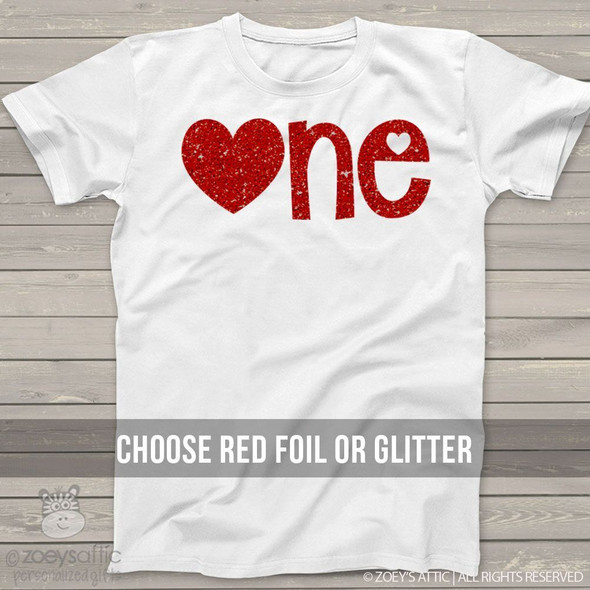 First Birthday Valentines Day sparkly one Tshirt