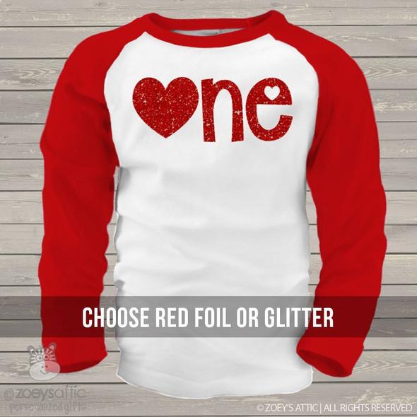 First Birthday Valentines Day sparkly one raglan shirt