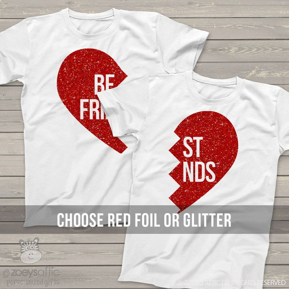 Best friend matching sparkly heart shirts