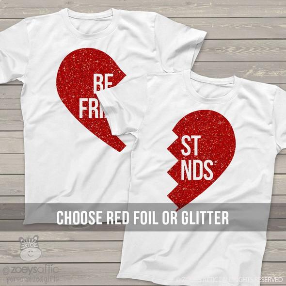 Best friend matching sparkly heart shirts