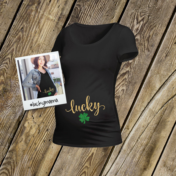 St. Patrick's Day lucky glitter DARK maternity top