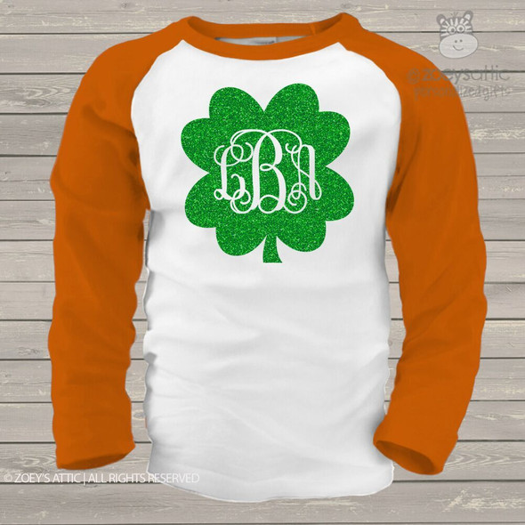 Monogram sparkly glitter shamrock girls raglan shirt