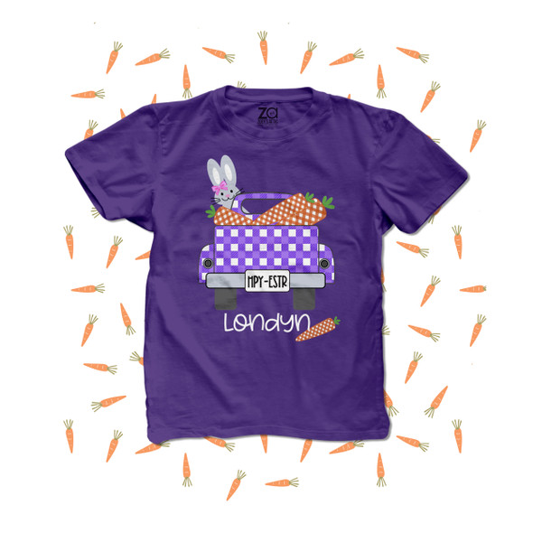 Girl Easter bunny truck carrots personalized DARK Tshirt