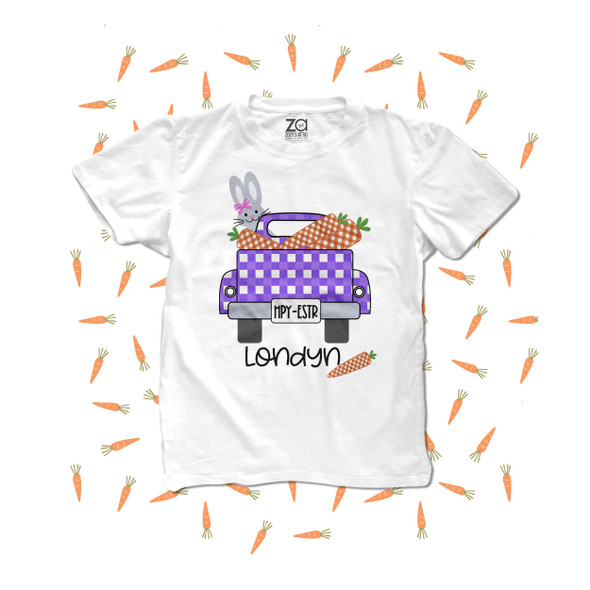 Girl Easter bunny truck carrots personalized Tshirt