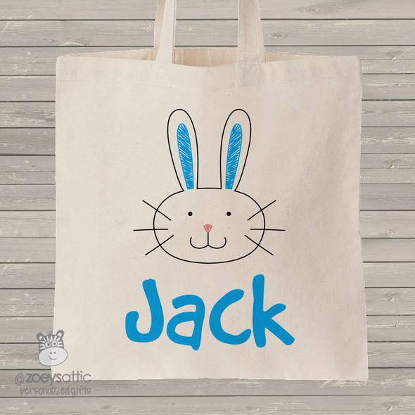 Easter Bunny head boy personalized tote bag