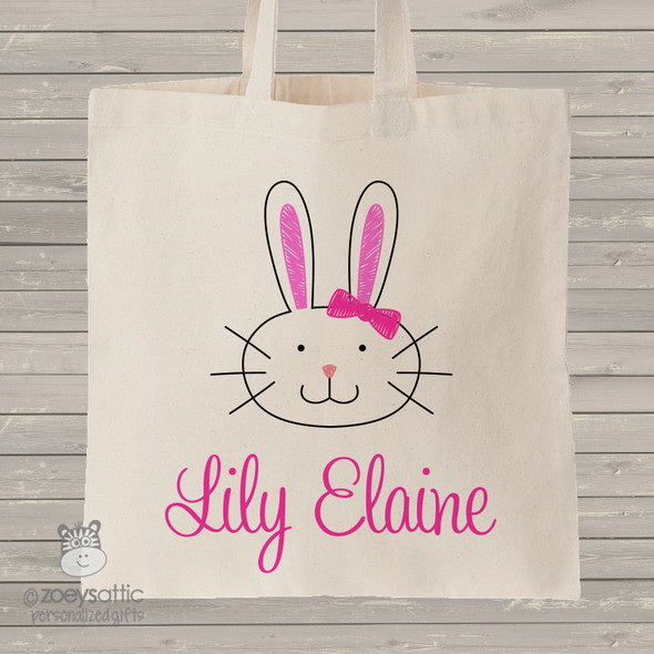 Easter Bunny head girl personalized tote bag