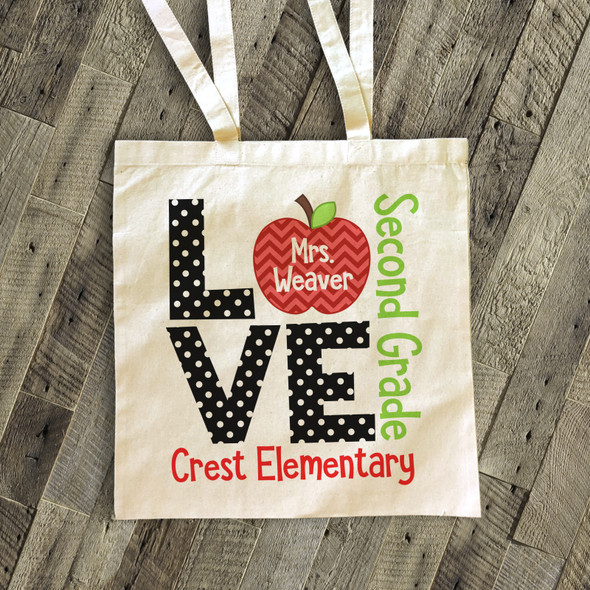 Love school teacher's personalized tote bag