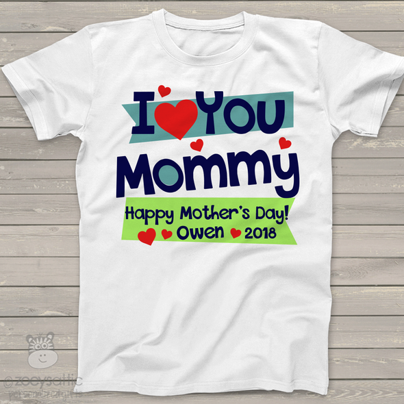 Mother's Day love you mommy personalized bodysuit or Tshirt