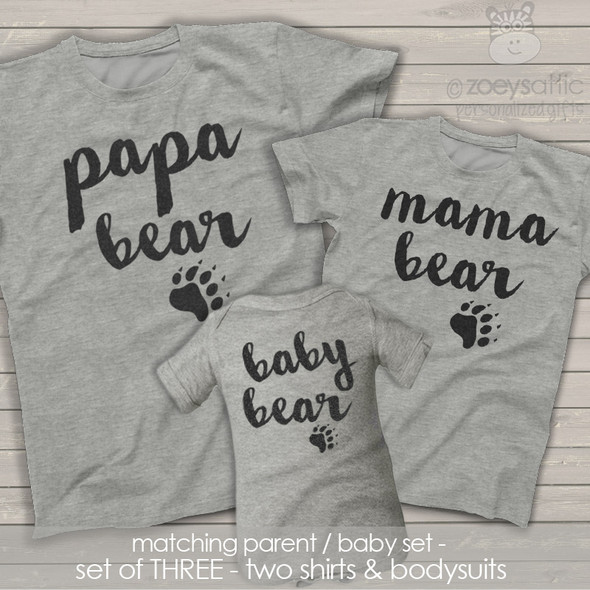 Papa mama baby bear matching THREE shirt gift set