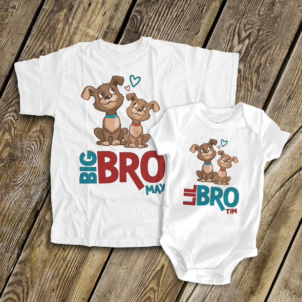 Big brother little brother puppy sibling Tshirt set