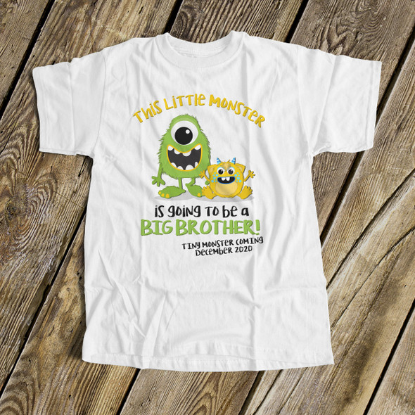 Big brother to be shirt little monster pregnancy announcement Tshirt