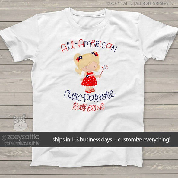 All American cutie girls personalized Tshirt