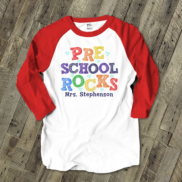 Teacher kindergarten or any grade rocks colorful personalized raglan shirt