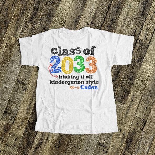 Kindergarten class of (any year) colorful personalized Tshirt