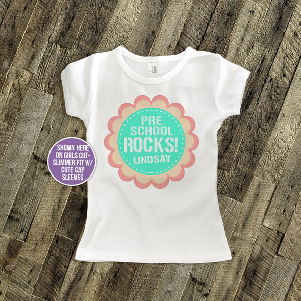 Preschool rocks flower personalized Tshirt