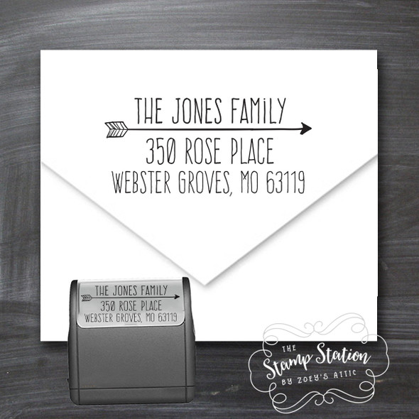 Arrow address self inking stamp